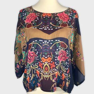 Johnny Was Flowy Floral Dolman Sleeves Blouse XS